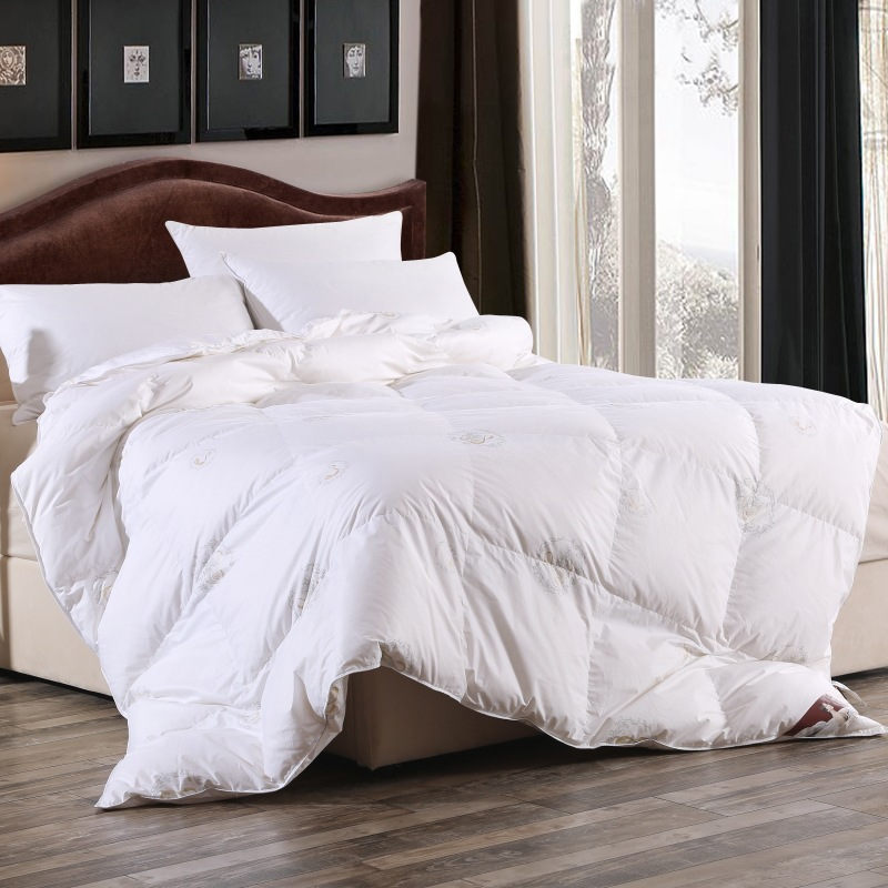 95 white duck down quilts comforter bedding sets king winter wadded quilt core pure cotton satin thick double bed quilt steppen
