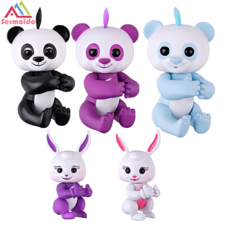 sermoido Finger Panda Monkey Intelligent Interactive Cute Pet Battery Toy Cartoon Electric Education Toys For Children Gift B240