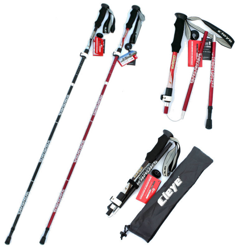 Anti Shock Nordic Walking Sticks Telescopic Trekking Hiking Poles Ultralight Walking Canes With Rubber Tips Protectors