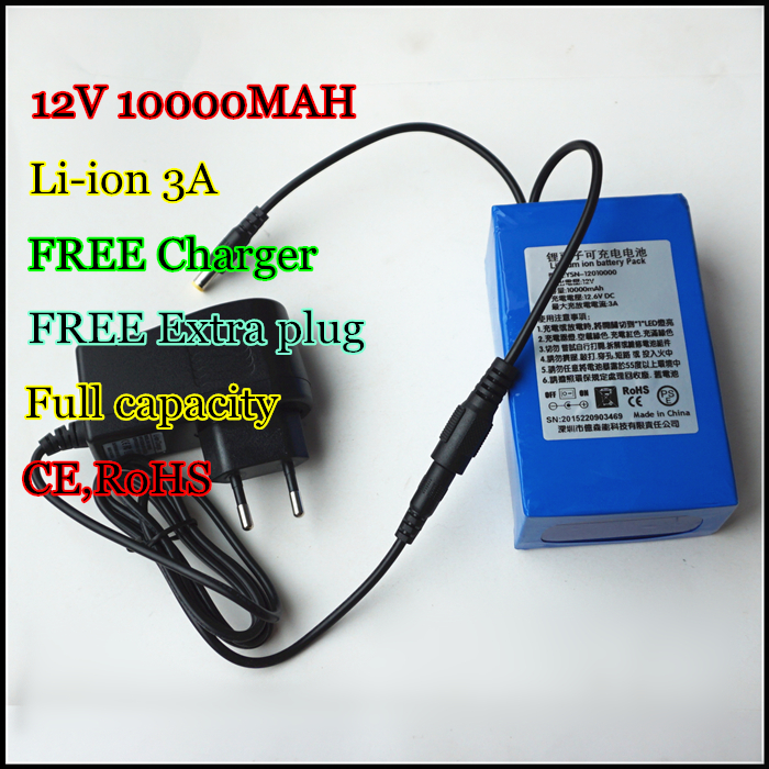 High quality 12V 10000MAH Lithium-ion Rechargeable 3AH Li ion Batteries for flashlights Power bank buccker t2 5v 10000mah li ion polymer power bank for cellphones ipad psp mp3 more blue