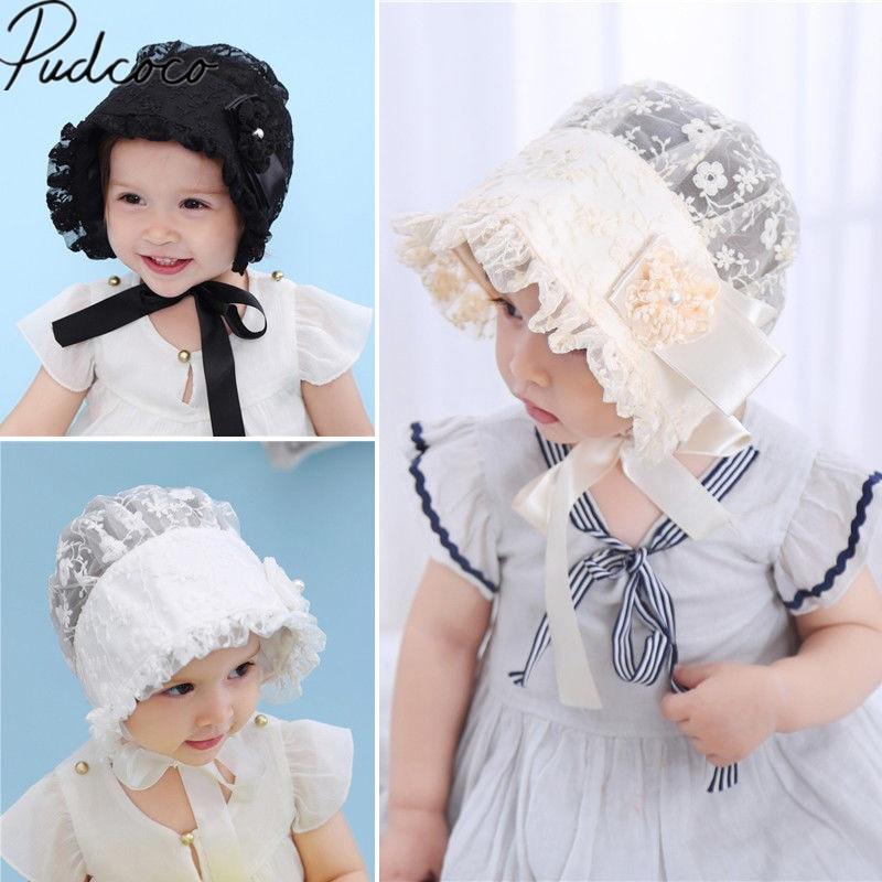 Baby Girls Princess Beige Lace Embroidery Bonnet Beanie Summer Sun Hat Cap