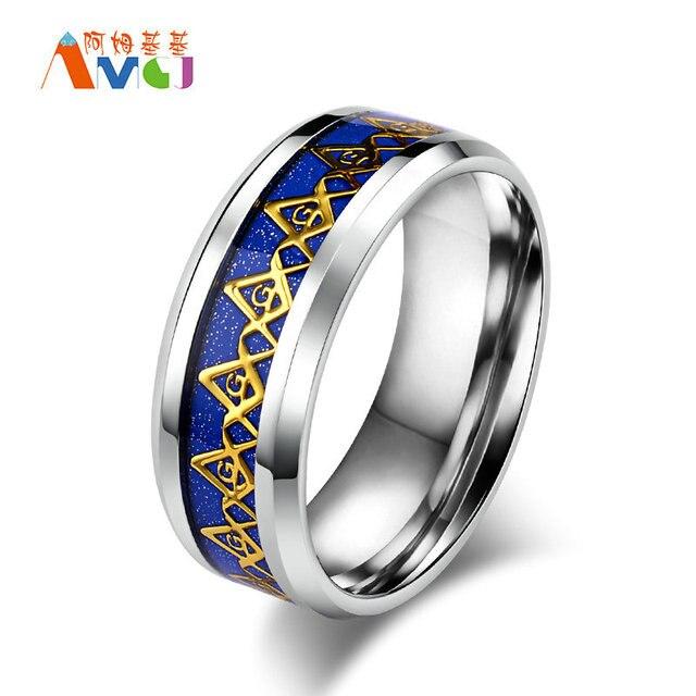AMGJek 8mm Blau Schwarz Mit Gold Freimaurer Ring Emaille Titan