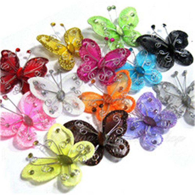 2017 fancy butterfly 20 pcs 2 organza butterflies craft for Butterflies for crafts and decoration