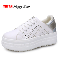 2019 Fashion Sneakers Women Flats White Shoes Spring Summer Flat Platform Footwear Women's Height Increasing Shoes ZH2848