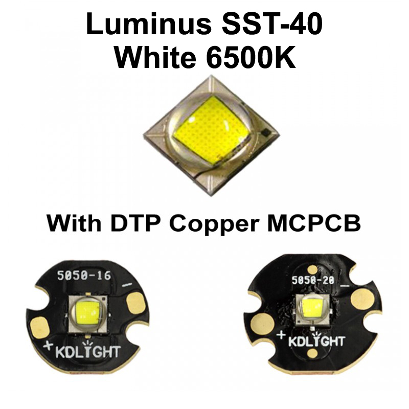 Luminus SST-40 N4 BA White 6500K LED Emitter With 16mm / 20mm DTP Copper MCPCB