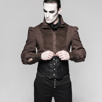 PUNK RAVE Men's Gothic Vintage Back Leather Waist Belt Evening Aprty Gentleman Girdle Fashion Steampunk Court Party Belt