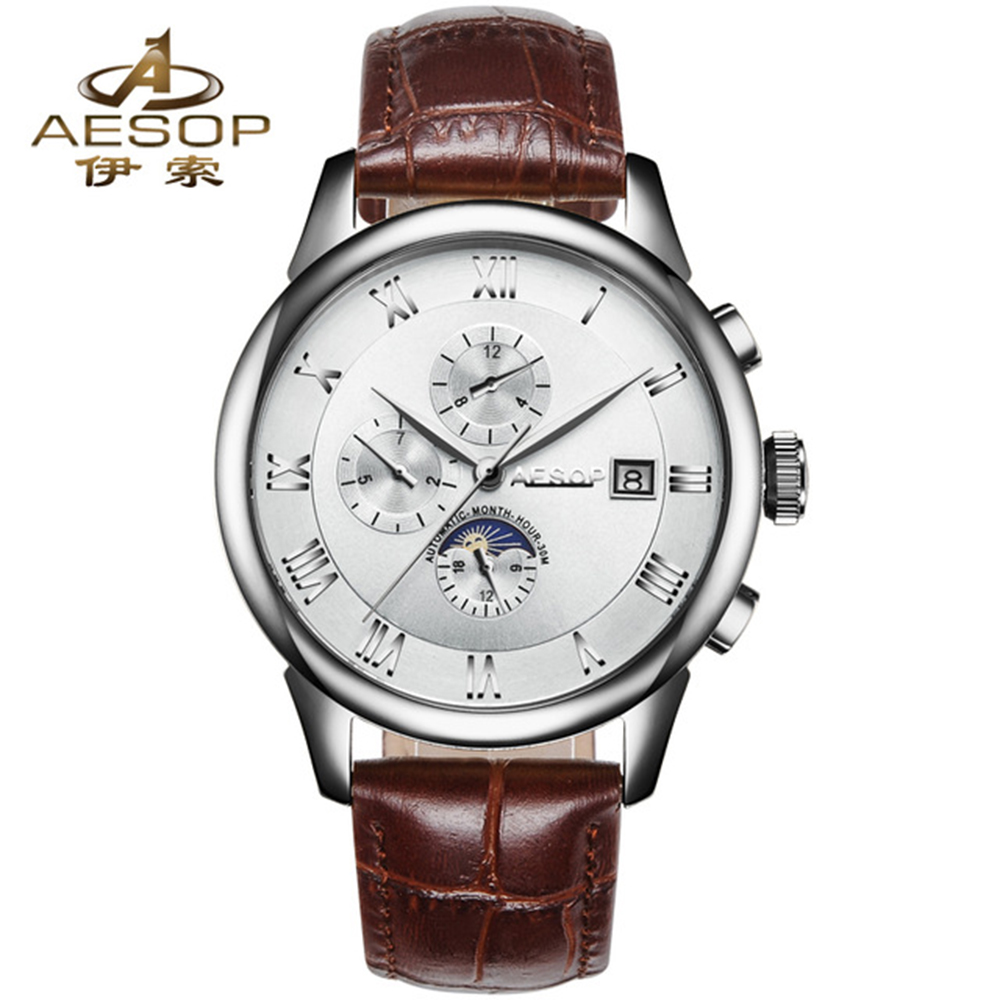 AESOP Brand Watch Men Watches Men Luxury Automatic Self-Wind Mechanical Watch Day-Date Month Moon Phases original binger mans automatic mechanical wrist watch date display watch self wind steel with gold wheel watches new luxury