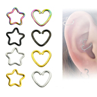 1Piece Anodized Body Piercing Earring Daith Heart Ring Star Shape Tragus Cartilage Orbital Ear Helix Jewelry