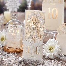 Customized Printing Laser Cut Hollow 3D Castle Wedding Invitations Cards European Style Champagne and Red Available