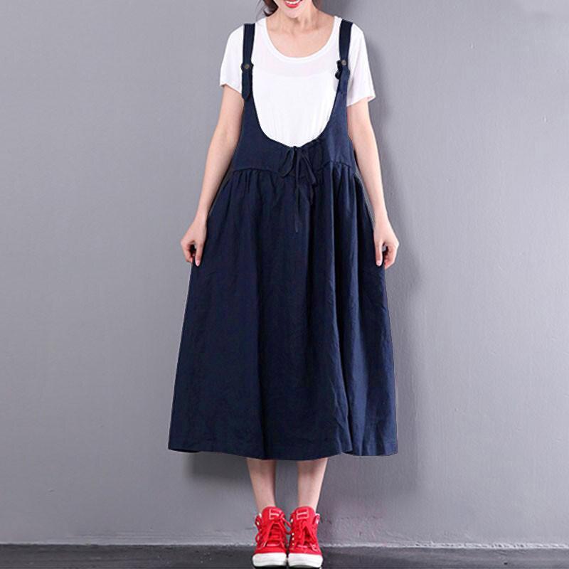 2018 Summer ZANZEA Women Strappy Sleeveless Casual Backless Loose Midi Suspense Dress Solid Baggy Dungarees Vestido Plus Size