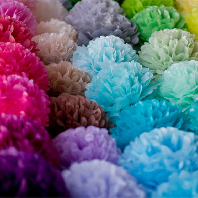 """8 """"20 Cm Suruh Keputusan Pengaruh Kertas Tisu Pom Pom Sebagai Bunga Bola untuk Dekorasi Ruang Pernikahan Perlengkapan Pesta DIY Putih Gantung bunga Kertas"""