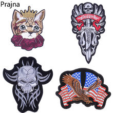 Prajna Large Cat Punk Rock winged Skull Patch Iron On Patches Eagle Badge Applique Cheap Embroidered Patches For Clothing Jacket(China)