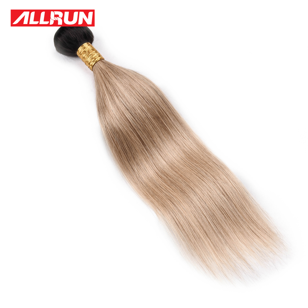 Allrun Ombre Brazilian Straight Hair 1PC T1B/Light Brown Remy Hair Weave Bundles 100% Human Hair Extensions Free Shipping