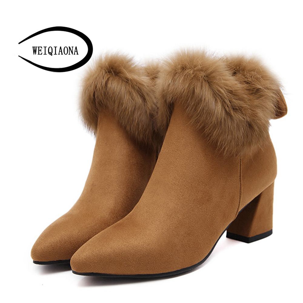 WEIQIAONA High Heels Shoes for Woman winter Fashion Real rabbit fur boots pointed toe Ankle Boots Women zip Lady Shoes