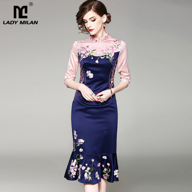 New Arrival 2018 Womens Stand Collar Long Sleeves Embroidery Patchwork Ruffles High Street Fashion Vintage Dresses