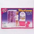Чехол для куклы барби аксессуаров мебель для ванной комнаты композиции , содержащий душ туалет и другие зоосалон стол