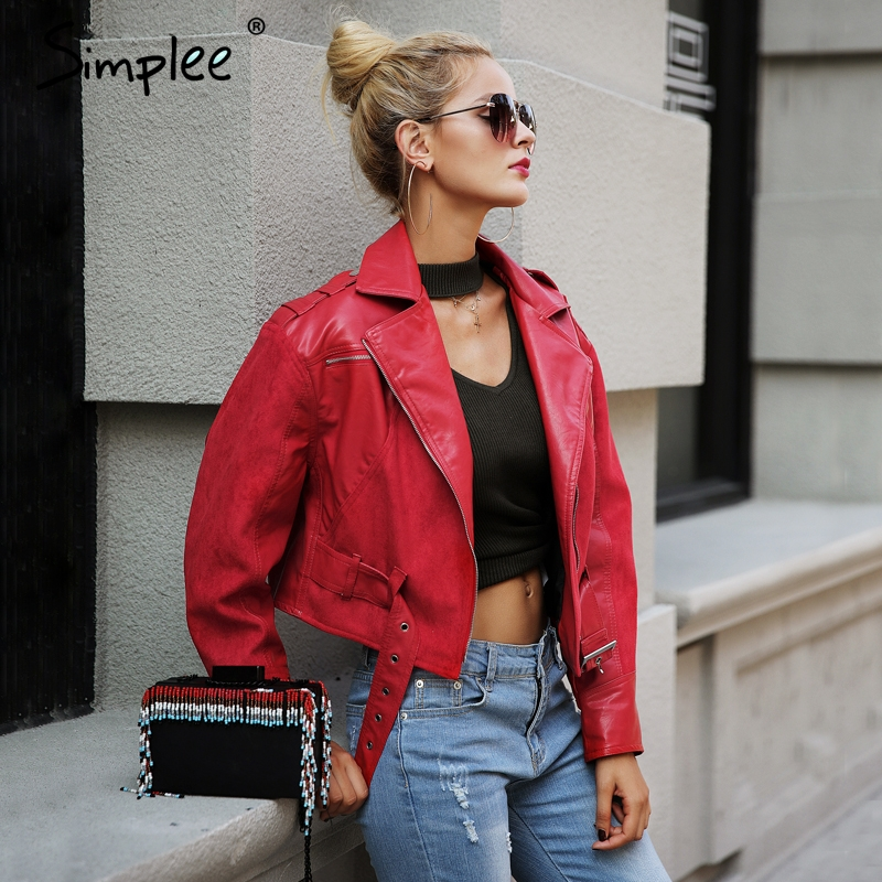 Simplee Fashion red PU leather   jacket   coat female Belt zipper suede patchwork   basic     jacket   Casual outerwear faux leather coat