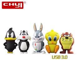 CHYI мультфильм USB флешка 3,0 ручка драйвер таз Сильвестр кошка Багз Банни Memory Stick 8 ГБ 16 ГБ 32 ГБ 64 ГБ флешки для подарка