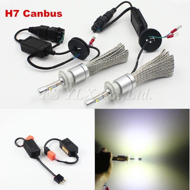 H7 Canbus 80W 9600LM H7 auto LED Headlight Kit 6000K Replace Halogen Xenon HID Headlamp led fog lights lamps headlight headlmap hireno headlamp for mercedes benz w163 ml320 ml280 ml350 ml430 headlight assembly led drl angel lens double beam hid xenon 2pcs