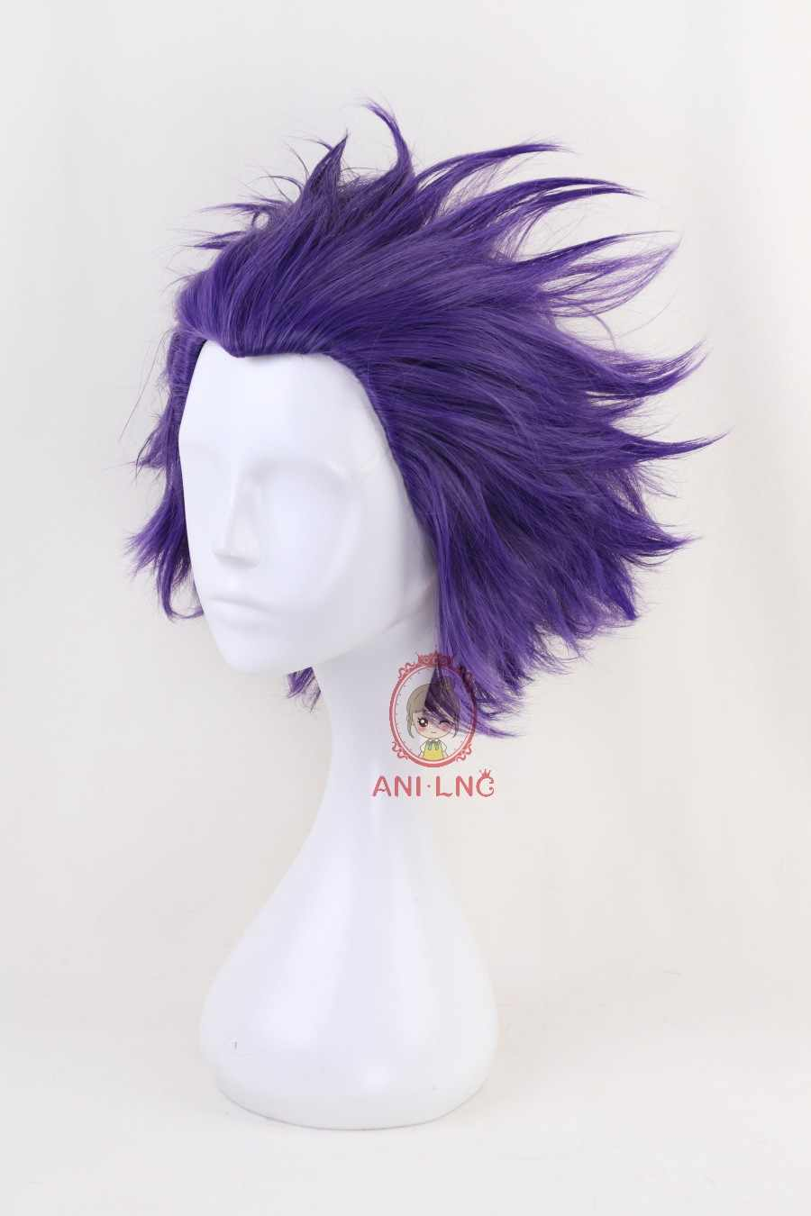 Shumeier короткий кудрявый фиолетовый мой герой учебный Shinsou Hitoshi синтетический парик для косплея для мужчин