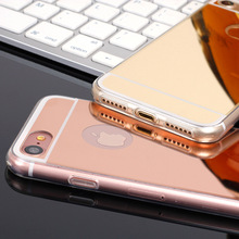 Luxury Shiny Soft TPU Sillcone Mirror case for iPhone 8 plus 6 6S 7 5s SE cases iphone8 back cover fundas coque rose gold