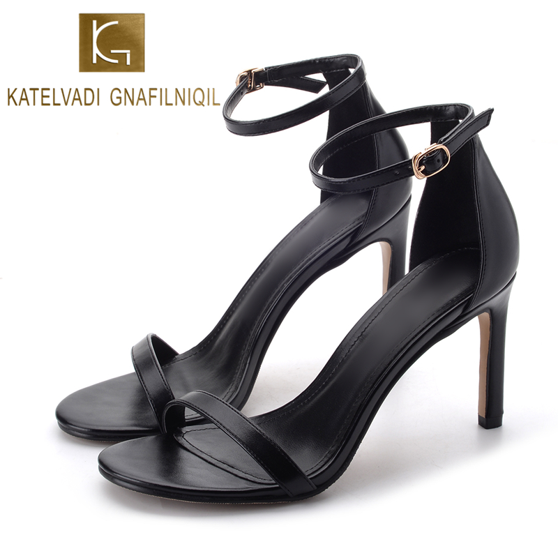 KATELVADI Summer Gladiator Sandals For Women 10CM High Heels PU Leather Black Women Sandals Sexy Shoes