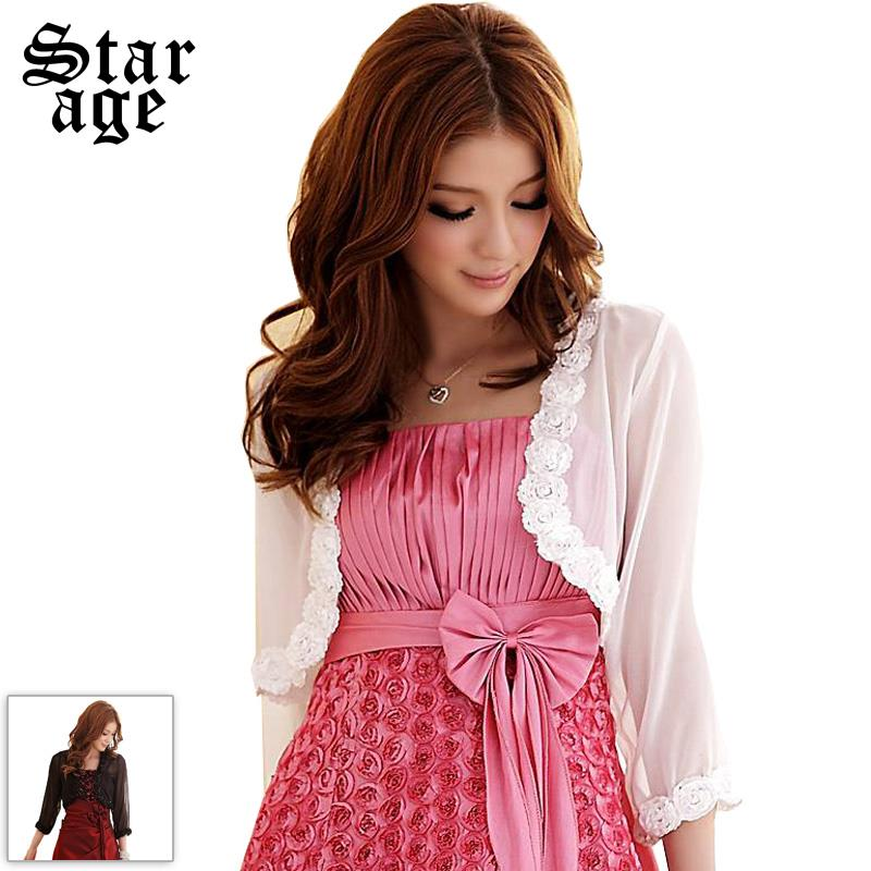 L 3xl 3d petal flower applique chiffon short jacket for for Womens dress jacket wedding