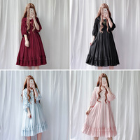 Tree&Sea Sweet Japan Style Lolita doll collar dress Vintage babydoll dress bishop sleeve Juicy pleated dress free shipping
