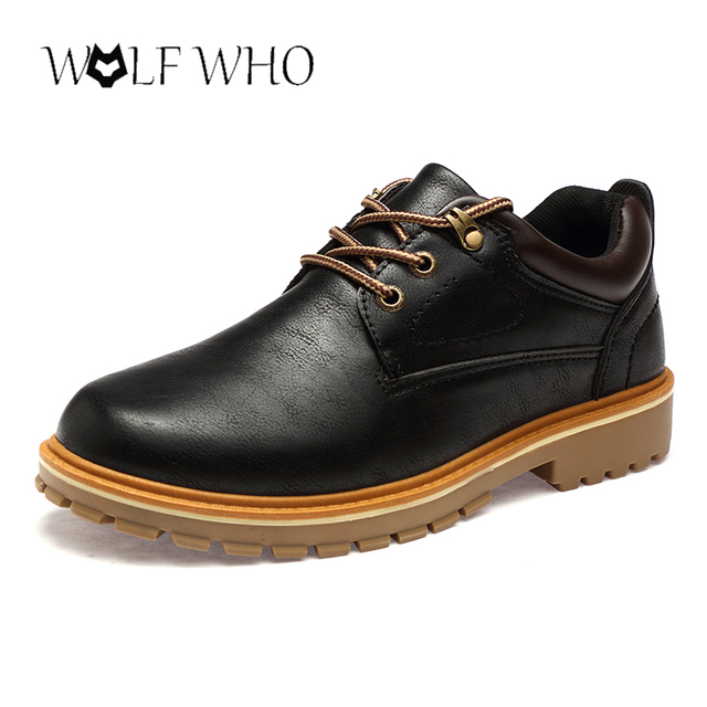 WolfWho Plus Size 39-46 Men Shoes PU Leather Worker Shoes Round Head Tenis  Masculino Adulto Safety Male Moccasin Elevator Shoes d1d646c87e1d