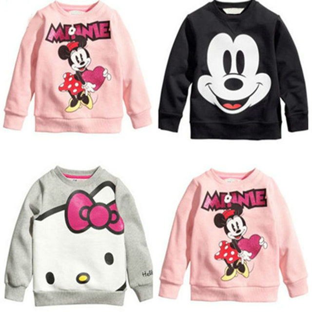 Hot Sale Kids cartoon boys and girls long-sleeved t-shirt casual clothing gray kitty pink black free shipping available