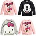 Venta caliente Niños de dibujos animados niños y niñas de manga larga camiseta ocasional ropa del gatito gris rosa negro el envío libre disponible