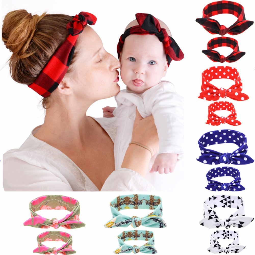 Puseky 2Pc/Set Mother Baby Turban Mom And Me Matching Headband Mom Daughter Rabbit Ears Headbands Floral Print Hair Accessories mommy and me headband mom and daughter matching headbands mom and me headscarf mummy and me headband