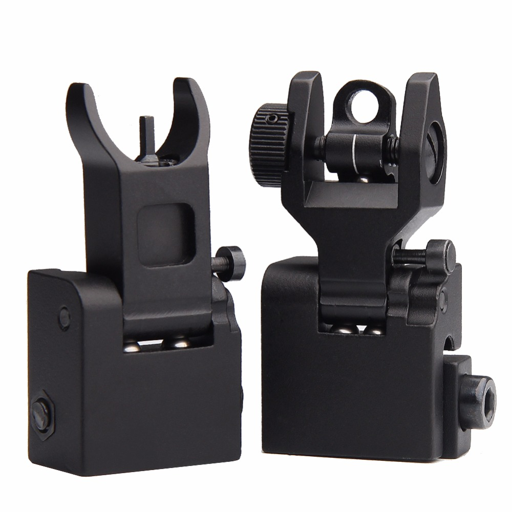 Front Rear Iron Sight Set Flip Up Rapid Transition A2 Mil Spec Folding Sight for 20mm Picatinny ...