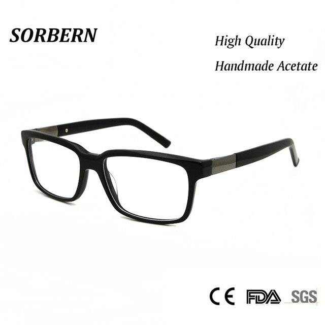 c4125bf754a SORBERN Acetate Nerd Glasses Frame Men Women Modern Greek Eyeglasses Frames  High Quality lentes opticos mujer Clear Lens