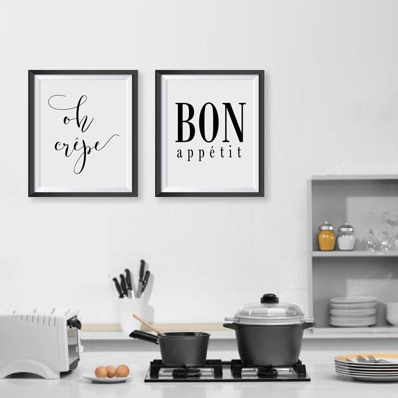 French Kitchen Art Decor Oh Crepe Quote Canvas Print , Bon