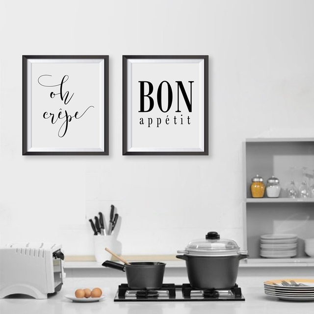 Kitchen Art Decor Sherwin Williams Cabinet Paint French Oh Crepe Quote Canvas Print Bon Appetit Typography Painting Wall