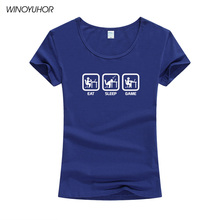 New Fashion Eat Sleep Game Gamer Funny T-shirt Women Humor Casual Printed College Womens Short Sleeve T Shirt Brand Tops