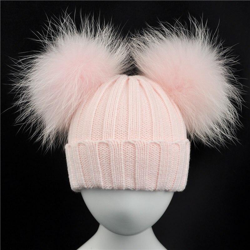 ฤดูหนาวเด็กหมวกถักด้วยสองขนPom Pomsเด็กสาวธรรมชาติขนบอลหมวกเด็กหมวก ... d9c107ca35a