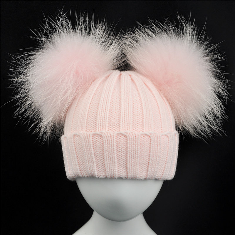 Winter Baby Knit Hat With Two Fur Pompoms Boy Girls