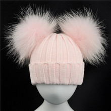 Зимняя детская шапка с двумя меховыми помпонами для мальчиков и девочек натуральный мех мяч шапочки дети шапки двойной натуральный мех пом с помпоном для детей