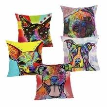 Oil Dog Cushion Cover Cotton Linen Pillow Case Cartoon Dog Cushion Case Home Decorative Pillow Cover for Sofa Cojines 43x43cm