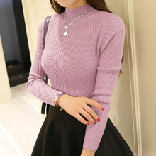 2017 Autum Winter Women Fashion New Sets of Semi Solid Slim Head Polo Neck Sweater Female Long Sleeved Shirt