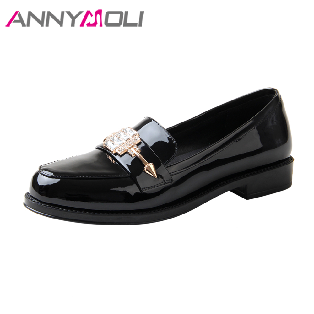 ANNYMOLI Genuine Leather Shoes Women Crystal Flats Shoes Spring Round Toe Loafers Slip On Flats Patent Leather Casual Shoes 2018 new round toe slip on women loafers fashion bow patent leather women flat shoes ladies casual flats big size 34 43 women oxfords
