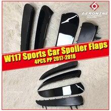 CLA W117 Rear Bumper Spoiler Flics Splitters Fins Flaps PP 4pcs Fits For MercedesMB CLA180 CLA200 250 CLA45AMG style 2017-2018