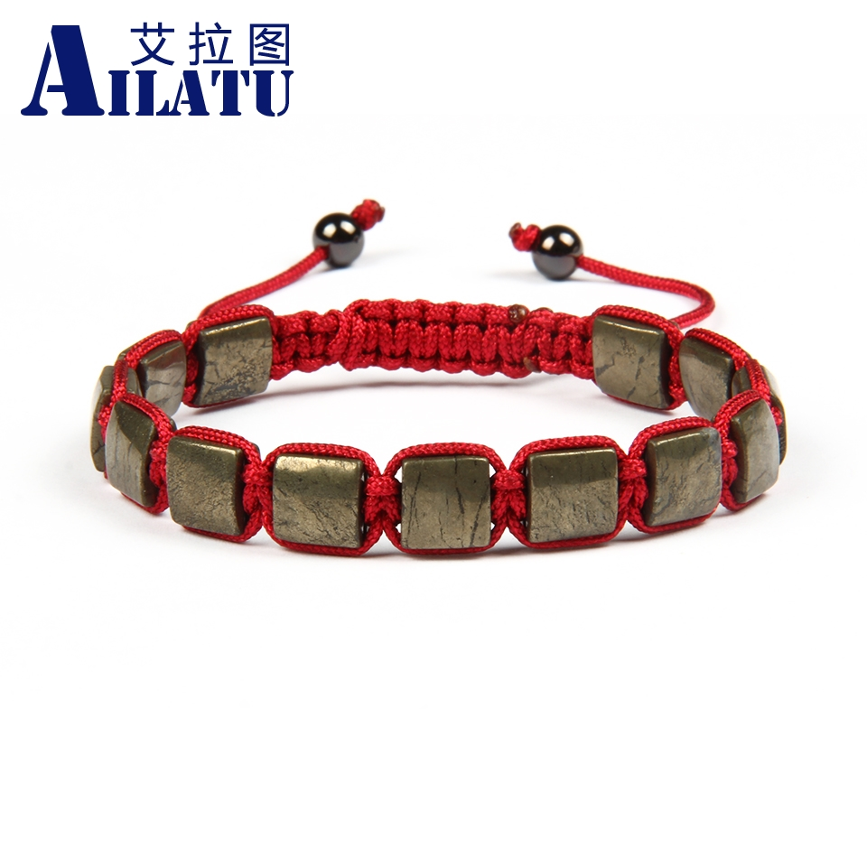 Ailatu Wholesale 10pcs lot 8x8mm Natural Retro Iron Ore Round Stone Cube Square Macrame bracelet for