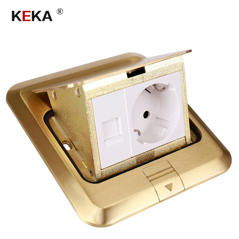 KEKA Floor Socket EU Plug Power Socket All Bronze Gold Panel Pop Socket With Rj45 Computer Outlet Waterproof Embedded Ground RU