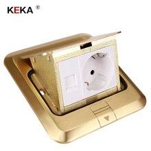 Keka piso tomada ue tomada de energia todo o bronze ouro painel pop tomada com rj45 computador à prova drjágua incorporado à terra ru
