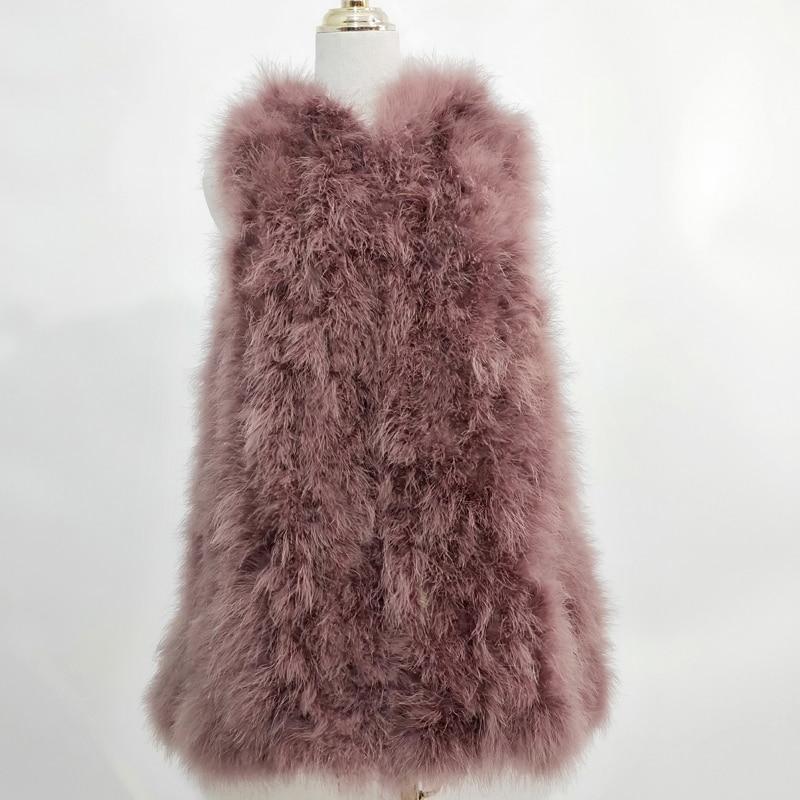 Новинка, жилет из страусиного волоса 70 см, длинная шапка, маленькая, свежая,, индейка, пуховая жилетка, натуральное меховое пальто, зашифрованное, ручное плетение