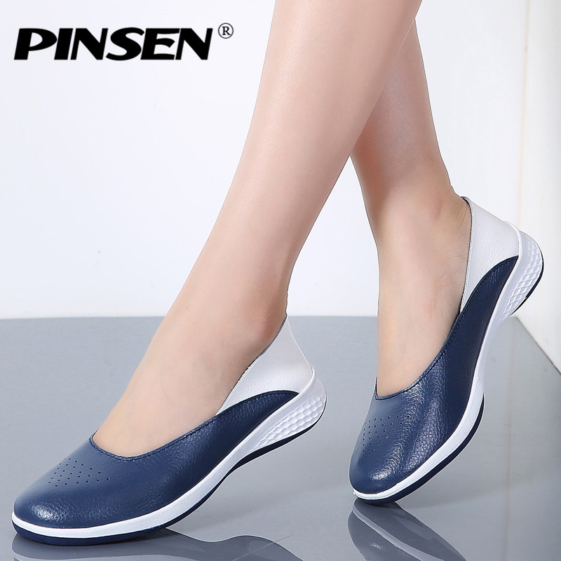 PINSEN 2018 Handmade New Summer Hole Loafers Women Flat Leather Moccasin Shoes Woman Slip On Ladies Shoes Casual Flats Moccasins