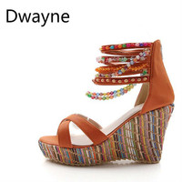 Dwayne Summer Bohemian Style Handmade String Bead Wedges Sandals Women Shoes Size 34 43